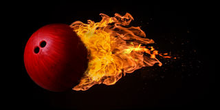 Free Flying Bowling Ball Engulfed In Flames Royalty Free Stock Images - 91888319