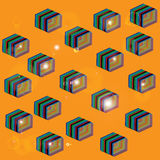 Flying boxes. Pattern of the boxes on an orange background stock illustration