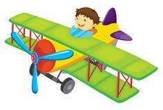Flying boy. Illustration of a boy flying a plane Stock Photos