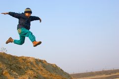 Flying boy Stock Photo