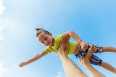 Flying boy like super hero Royalty Free Stock Photos