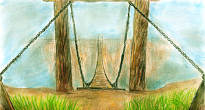 Flying bridge. Old suspension bridge hanging on chains over the chasm. The opposite end disappears far away in the fog. Pencil drawing Stock Image