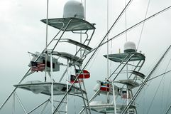 Flying Bridge. Photographed charter boats at a local marina in Florida Stock Photography