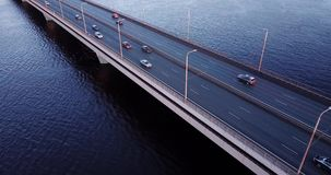 Flying by the bridge. On winter day stock footage