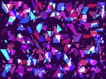 Flying broken particles on a dark background. Triangles, geometric shapes. Interference, glitch art. Vector vector illustration