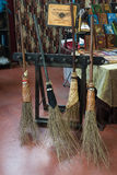 Flying brooms on display at Festival del Fumetto convention in Milan, Italy Stock Images