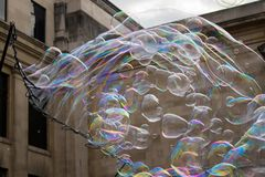 Flying bubbles all over royalty free stock photography