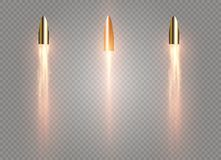 A flying bullet with a fiery trace. Isolated on a transparent background. Vector illustration.  Stock Photo