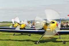 Flying bulls - aerobatics in Pribram AEROSHOW Stock Photo