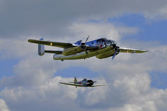 Flying Bulls B-25 Mitchell and Japanese  Zero Stock Photography