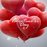 Flying bunch of balloon hearts Stock Image