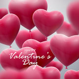 Flying bunch of balloon hearts Stock Photography