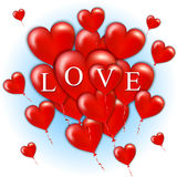 Flying bunch of red balloon hearts. Happy Valentines Day. Vector illustration Stock Photo