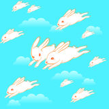Flying bunnies pattern Royalty Free Stock Photography