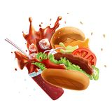 Flying Burger and Glass of Soda with Splash. Isolated on White Background. Stock Images