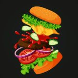Flying burger separated showing all ingredients on a blackboard. Vector illustration of a flying burger separated into layers showing ingredients: sesame topped vector illustration