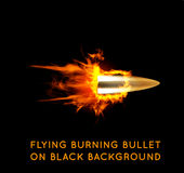 Flying burning bullet Stock Photos