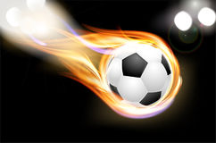 Flying burning soccer balloon and shiny lights Royalty Free Stock Images