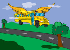 Flying bus, back to school illustration Stock Photo