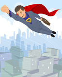 Flying businessman hero Royalty Free Stock Image