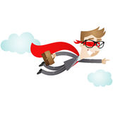 Flying businessman superhero. Vector illustration of a flying cartoon businessman dressed up as a superhero pointing and holding his briefcase royalty free illustration