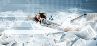 Flying businesswoman Royalty Free Stock Photo