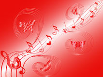 Flying butterflies around musical notes on stave. Various musical notes with hearts on stave and butterflies flying along, hand drawing Valentine vector Royalty Free Stock Image