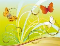 Flying Butterflies among exotic plants. Vector illustration Stock Image