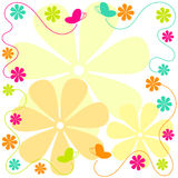 Flying Butterflies and Flowers Border Stock Photo