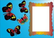 Flying butterflies and frame Royalty Free Stock Photos
