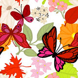 Flying Butterflies In The Summer. Seamless Pattern Stock Photography