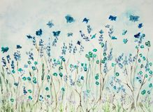 Flying butterflies in lavender field. The dabbing technique near the edges gives a soft focus effect due to the altered surface roughness of the paper stock illustration
