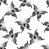 Flying butterflies seamless background pattern Stock Photos