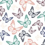 Flying butterflies in soft calming chalky pastel colors.  vector illustration