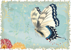 Flying butterfly. Vector illustration of a flying butterfly on a blue retro styled background with silhouettes of plants. All objects are isolated and separated Royalty Free Stock Photography