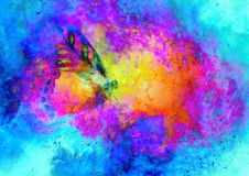 Flying butterfly in cosmic space. Painting with graphic design. Royalty Free Stock Images
