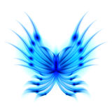 Flying butterfly with fiery wings. Blue Flying butterfly with fiery wings. Abstract Illustration on white background Royalty Free Stock Photos