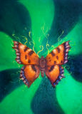 Flying butterfly on green background. Painting with graphic design. Flying butterfly on green background. Painting with graphic design royalty free stock photos