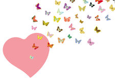 Flying butterfly and heart shape Stock Photos