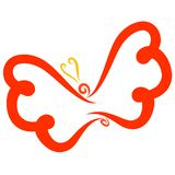 Flying butterfly with red wings and yellow antennae.  stock illustration