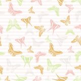 Flying butterfly silhouettes over striped background vector seamless pattern.