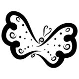 Flying butterfly with specks on the wings, black pattern.  royalty free stock images