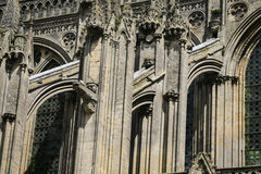 Flying buttresses on Bayeux Cathedral Stock Images
