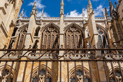 Flying buttresses detail in the cathedral of Leon Spain. Side view of flying buttresses with forefront forge  in the cathedral of Leon Spain Royalty Free Stock Photos