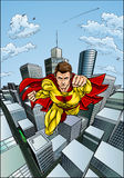 Flying Caped Superhero City Scene Stock Images