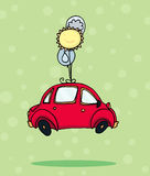 Flying car. A car flying with new energy sources! Digital illustration Royalty Free Stock Photography