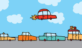 Flying car gets above traffic Stock Image