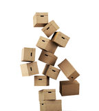 Flying a cardboard box  on white background. 3d renderin Stock Photography