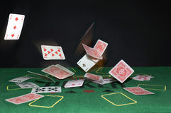Flying cards Stock Images