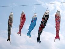Flying carps-Koinobori Stock Images